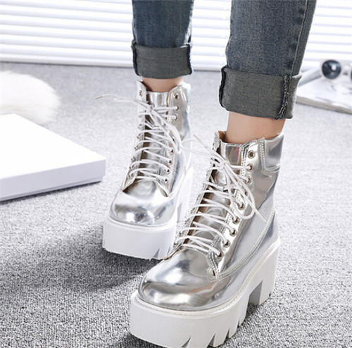 a1e7bb95dfdf PXELENA Punk Gothic women Ankle Boots Lace up Chunky Block Square High Heel  platform Creeper round