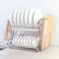 Stainless steel double drain dish rack Kitchen multi function rack Chopsticks holder Cutting board storage rack