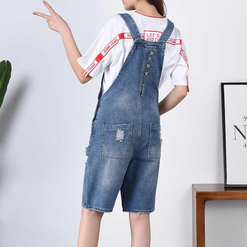 Плюс размер кнопки Короткий Комбинезон Джинсы 6XL 7XL повседневные карманные джинсовые комбинезоны потертые горячие брюки для женщин
