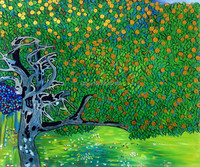 Cheap Handpainted Oil Reproduction Famous Gustav Klimt Painting On Canvas Golden Apple Tree Canvas Art For