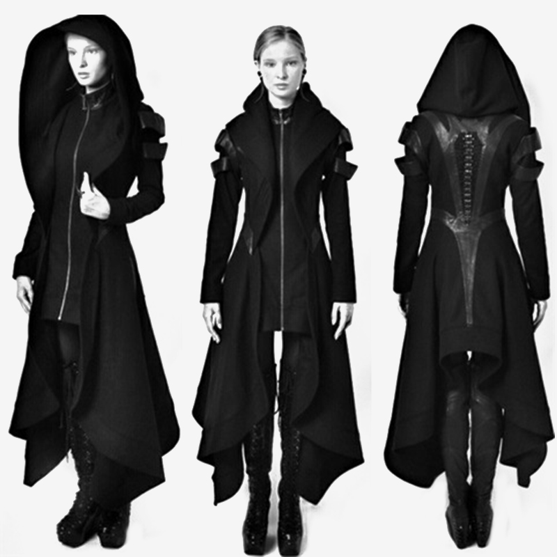 2019 Women Gothic Winter   Trench   Coats Autumn Female Fashion Overcoats Ladies Plus Size Hooded Slim Zipper Black Vintage Outwears