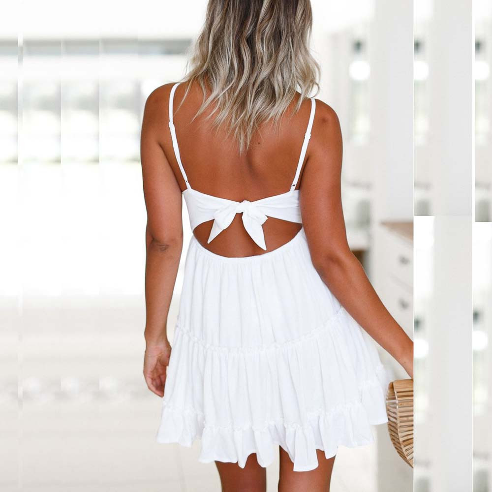 dress women Summer Backless Mini Dress White Evening Party Beach Dresses  Sundress-in Dresses from Women s Clothing on Aliexpress.com  9f1839372
