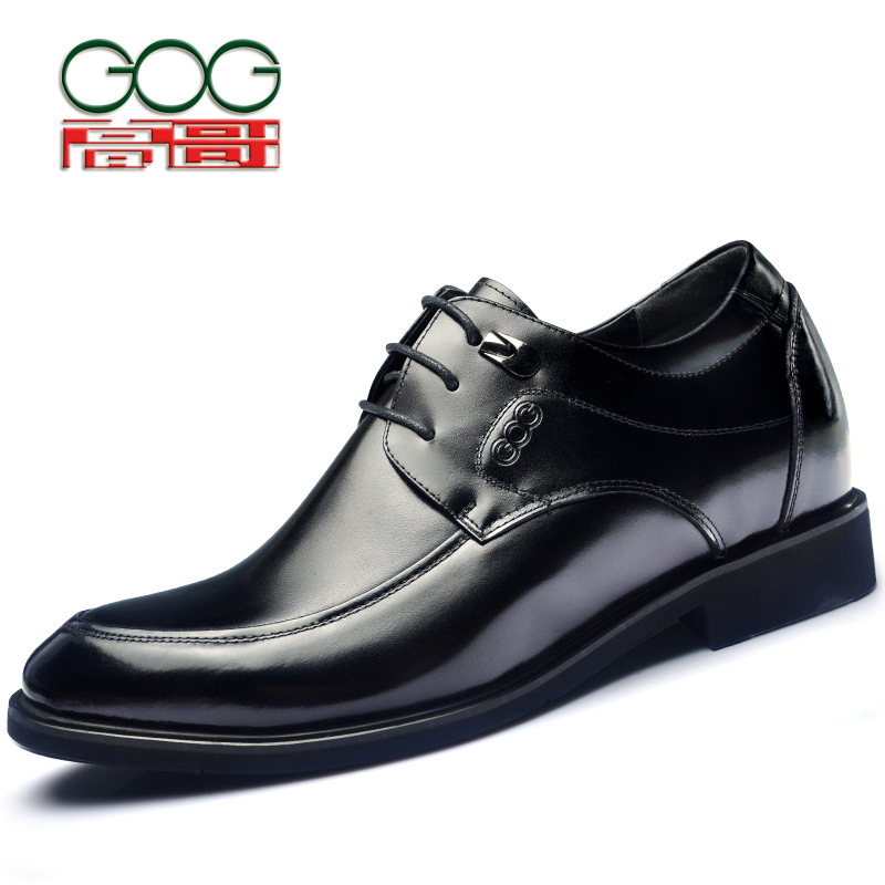 GOG men leather shoes elevator shoes 8cm genuine leather mens formal shoes mens oxfords mens classic shoes  oxford men elevator shoes male leather elevator 6cm men s commercial elevator 8cm men s new arrival lacing shoes