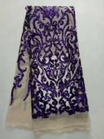 Haute qualité PAILLETTES français dentelle foncé violet PAILLETTES dentelle de tulle africain tissus 2017 dernière conception pour robes de soirée