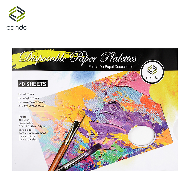 CONDA 40 Sheets Palette Paper Pad 23*30.5cm White Painting Palette For Watercolor Oil Painting Art Supplies Cleaning Palette