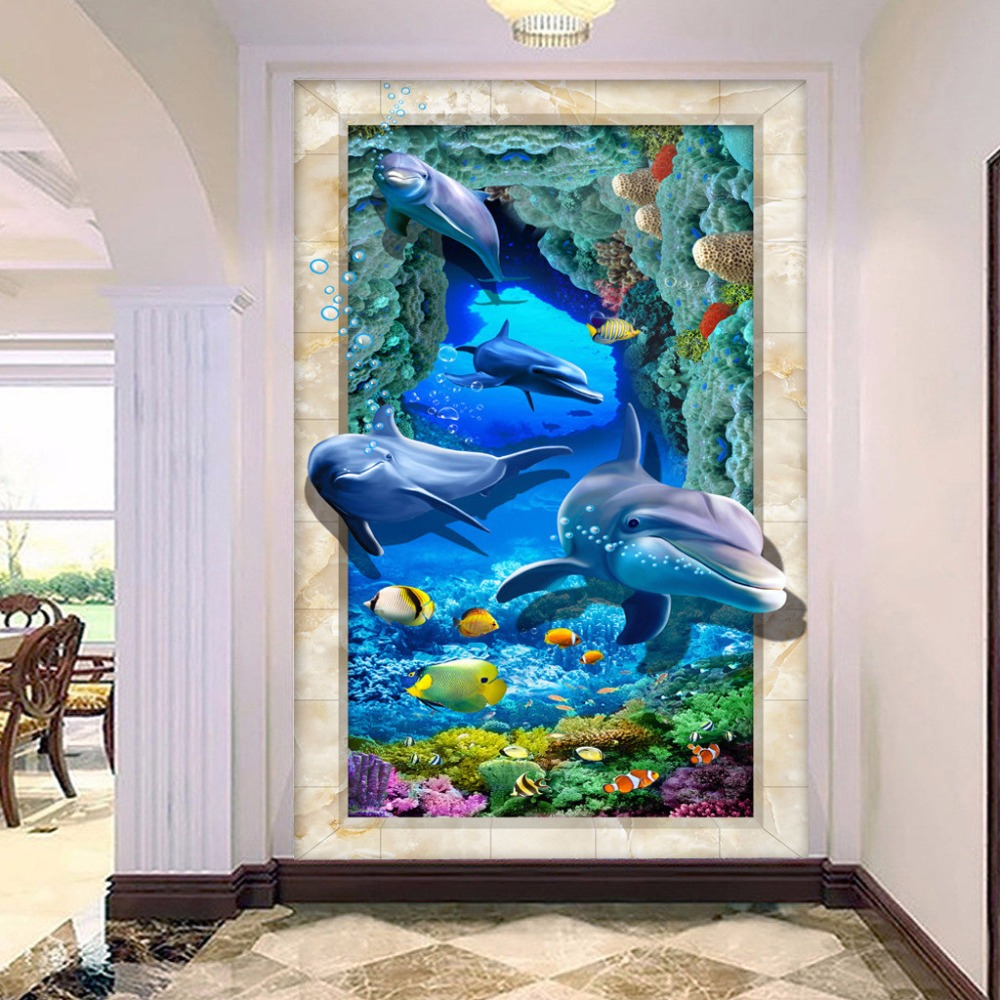 3D Floor Wallpaper Custom Wall Mural Seabed Dolphin Bathroom Floor ...