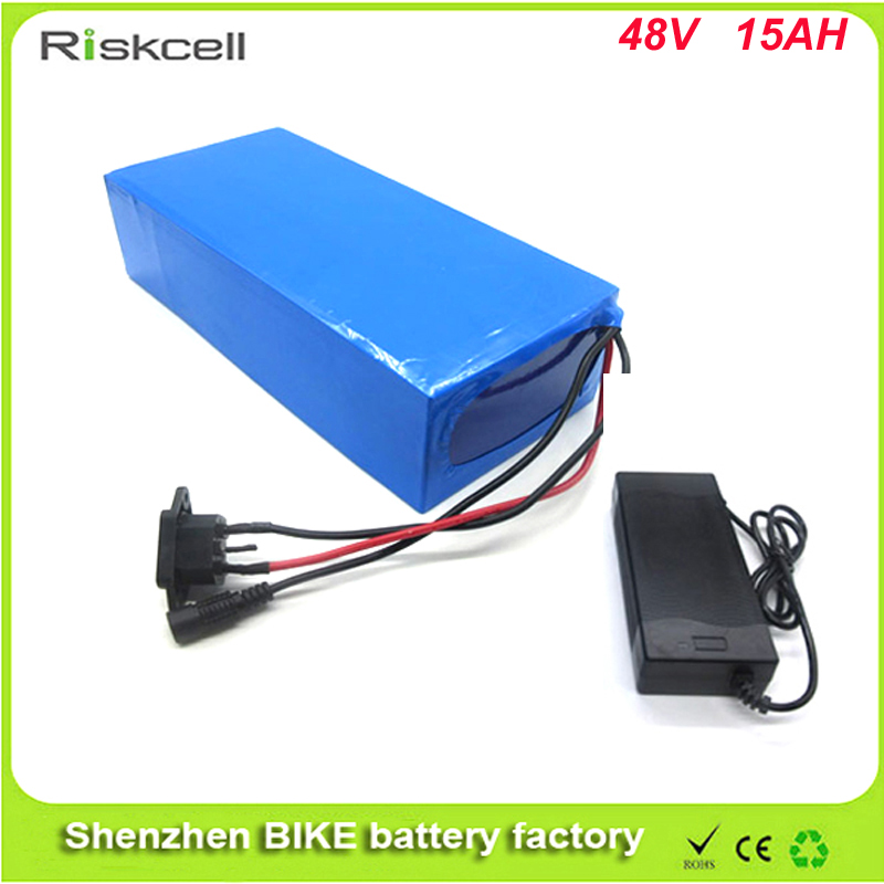 DIY 48 volt li-ion battery pack electric bike battery with 54.6V   Charger and 15A BMS for 48V 15Ah bafang bbs02 lithium battery free customs taxes high quality 48 v li ion battery pack with 2a charger and 20a bms for 48v 15ah 700w lithium battery pack