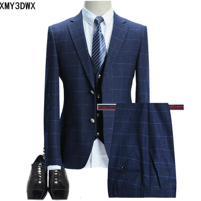 ce606be3de (jacket+pants+vest) 2018 male singer men suit spring autumn casual slim fit  business prom groom party wedding dress suit