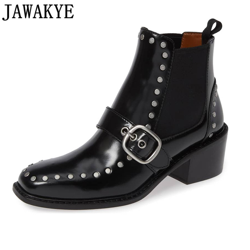Punk style rivets studded Ankle Boots for women round toe zipper Strap buckled 2018 Riding martin Booties Zapatos Mujer все цены