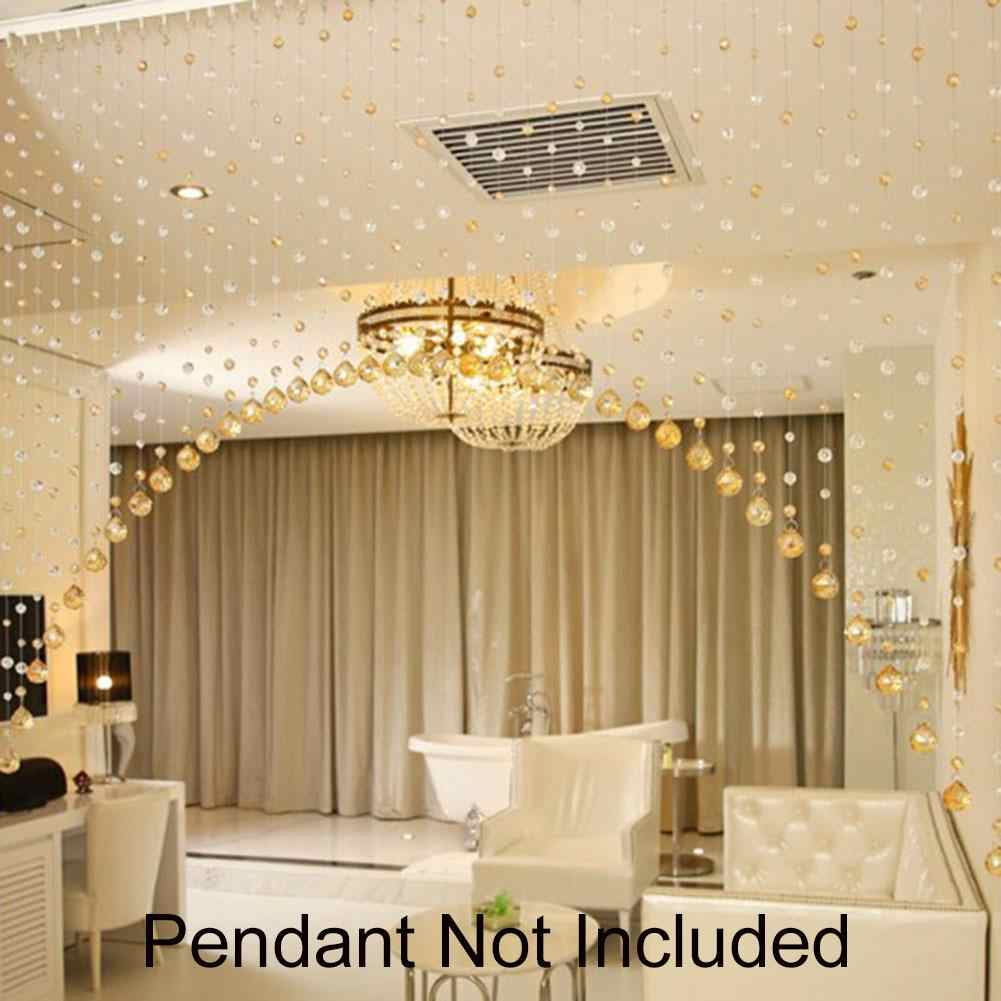 HOT SALE 1m Faux Crystal Glass Rose Bead Strip String Curtain Living Room Bedroom Door Wedding Decor Valance Home Decoration gif