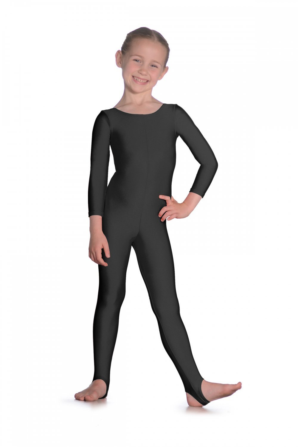 Black spandex dance unitard gymnastics and dancewear - Girls Lycra Long Sleeve Dance Unitard Kids Stirrups Catsuits Spandex Gymnastics Leotards Dancewear Fancy Dress Halloween