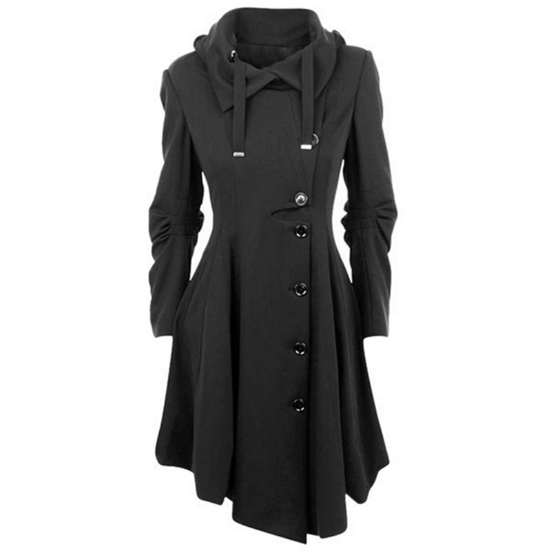 MONERFFI 2019 Fashion Long Medieval Trench Woolen Coat Women Black Stand Collar Gothic Overcoat Women Coat Vintage Femme Outwear