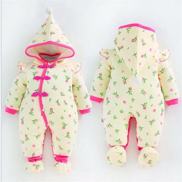 Romper do bebê terno Com grossas de algodão-acolchoado jaqueta feita de puro algodão roupa do bebê ha macacão Recém-nascidos quente para fora do LM122