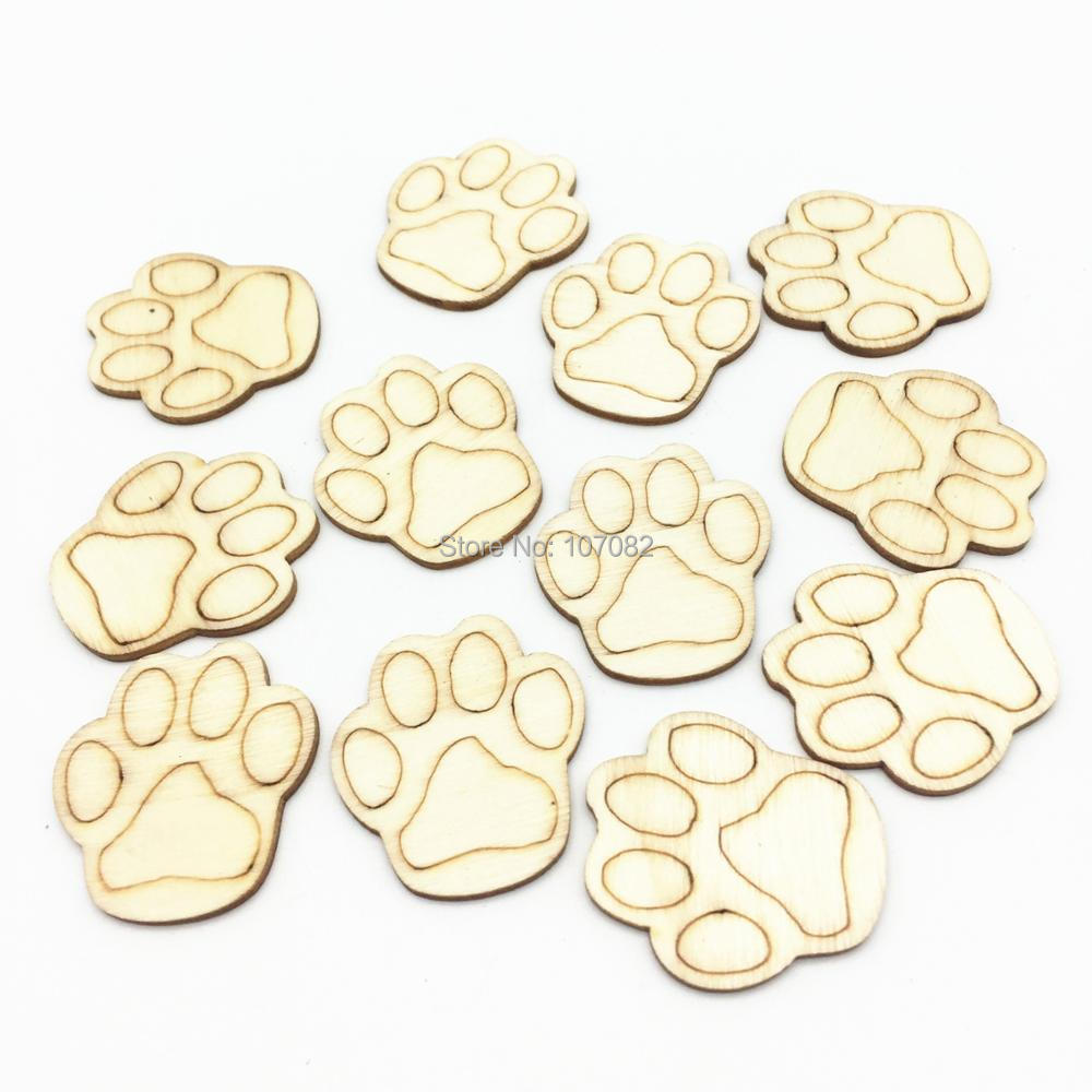 50pcs Natural Wood Dog Paw Claw Baby Shower Lacer Cut Crafts Embellishments Slices Chips For Cardmaking Scrapbooking 28x30mm ...