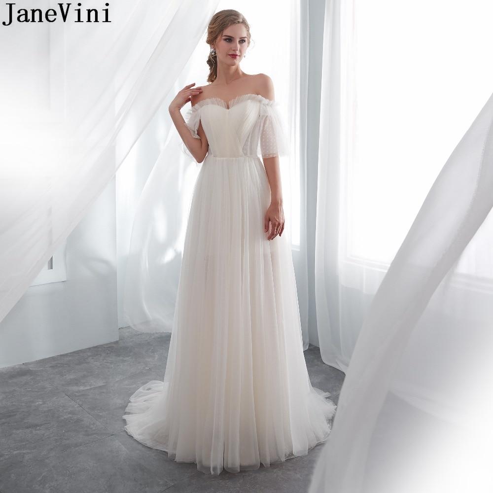 JaneVini Simple Champagne Tulle Long   Bridesmaid     Dress   A Line Sweetheart Half Sleeves Backless Women Elegant   Dresses   for Weddings