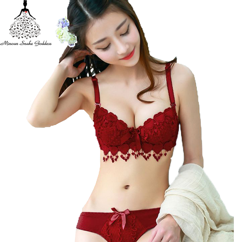 Push Up Floral Embroidery Bra Set Adjusted Deep V Underwire Thick Bra Panties Padded sexy Lingerie Bra and Briefs Set for women