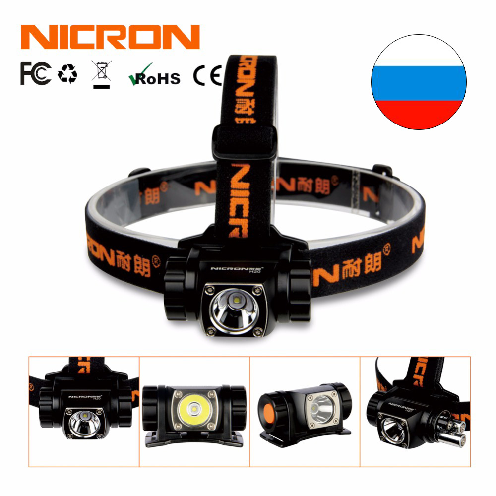 NICRON LED Flashlight Brightness Aluminum Head Lamp 380Lm 150M Outdoor Headlight Headlamp Head Light Lamp Torch Lanterna Use H20