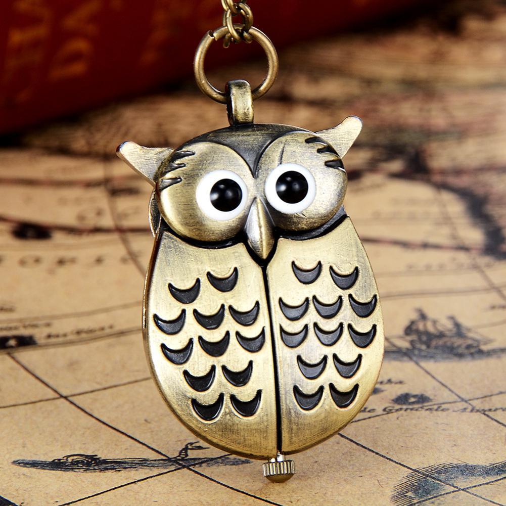 Fashion Top Brand Luxury Antique Cartoon Owl Wing Pocket Watch Quartz Analog Pendant Necklace Xmas Gift