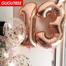 все цены на Decorate 32inch rose gold number foil balloons wedding event christmas halloween festival birthday party PD-93
