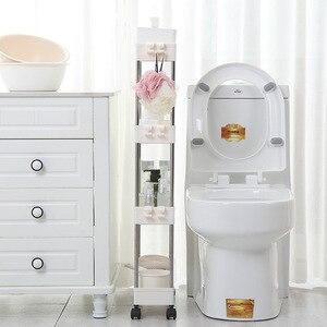 Image 3 - Étagère de rangement pour cuisine, étagère coulissante mince à assemblage mobile en plastique, étagère de salle de bain, roulettes, organiseur permettant de gagner de lespace, 2/3/4 couches