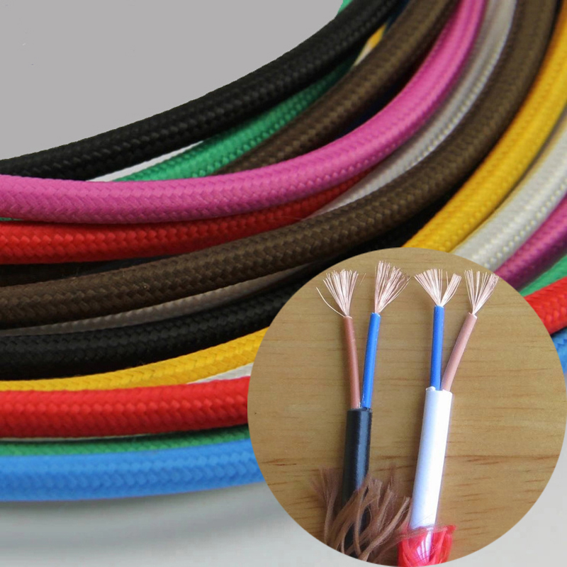 10m/lot 0.75mm Vintage Fabric Electrical Cable 11 Candy Color Retro ...