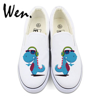 Wen White Black Color Canvas Shoes Slip On Flat Original Design Cartoon Dinosaur Listen To Music