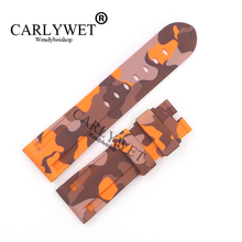 CARLYWET 24mm Camo Orange Waterproof Silicone Rubber Replacement Wrist Watch Band Strap Belt For Luminor