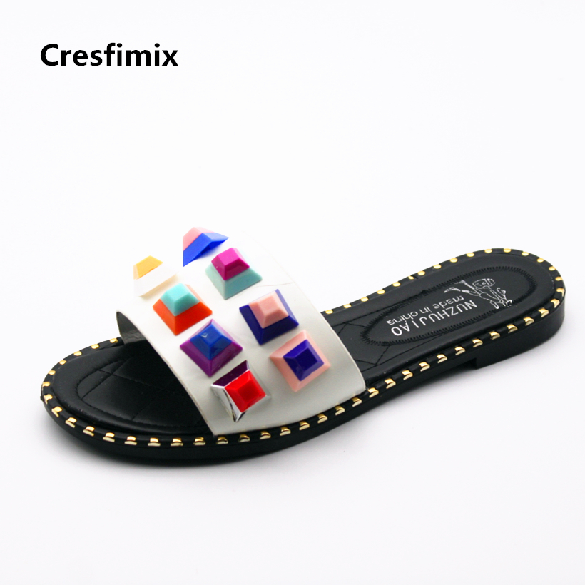 Cresfimix zapatillas de mujer women fashion spring & summer slip on flat slippers lady cute beach black & white cool slippers cresfimix women cute spring