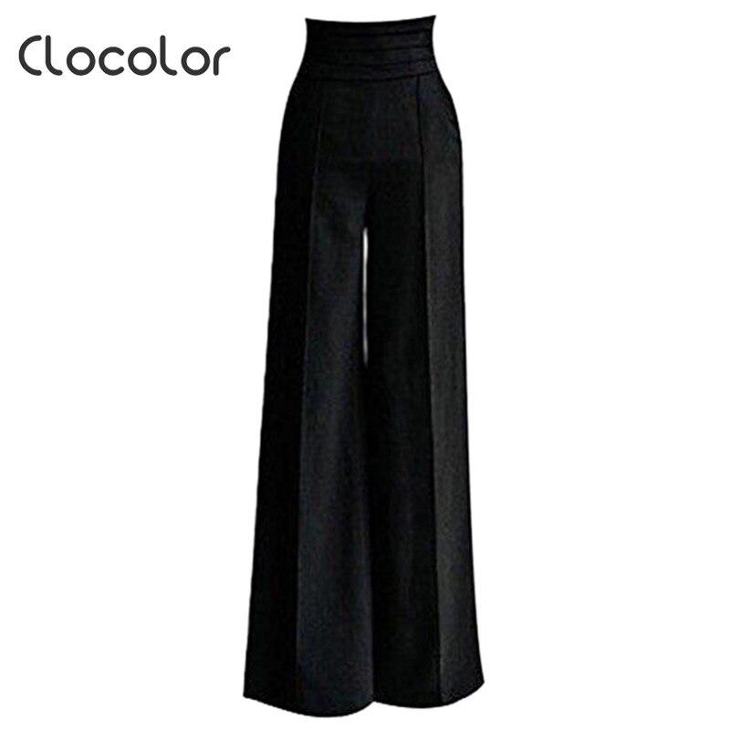 Clocolor women pants black Women High Waisted loose wide leg long full pants Female girls Fashion Pants Trousers women pants