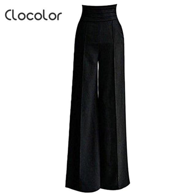 6162efd733 Clocolor women pants black Women High Waisted loose wide leg long full pants  Female girls Fashion