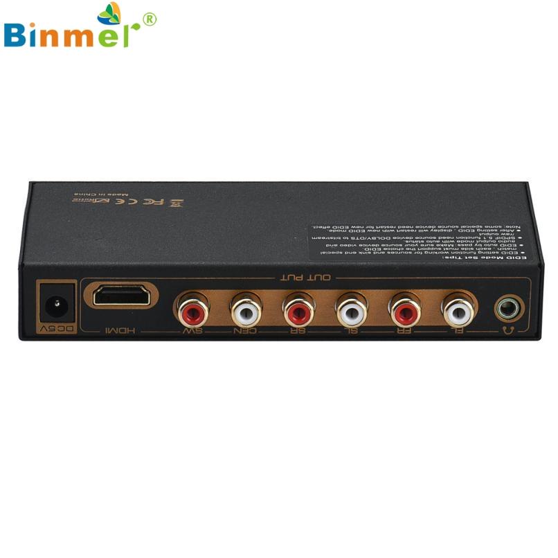Prix pour Supérieure Qualité HDMI à HDMI & Optique + 6RCA + 3.5mm Audio Extractor Splitter 5.1 Audio Décodeur noir Jan22