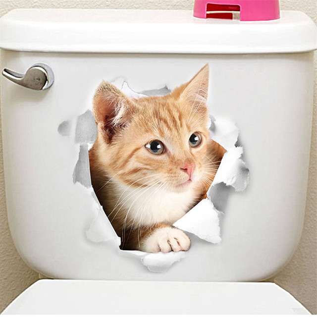 Cute Cat Toilet Stickers 2