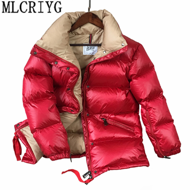 MLCRIYG 2019 Winter Duck   Down   Jacket Women Thick Warm   Coats   Glossy Women's   Down     Coats   and Jackets Parkas chaqueta mujer YQ288