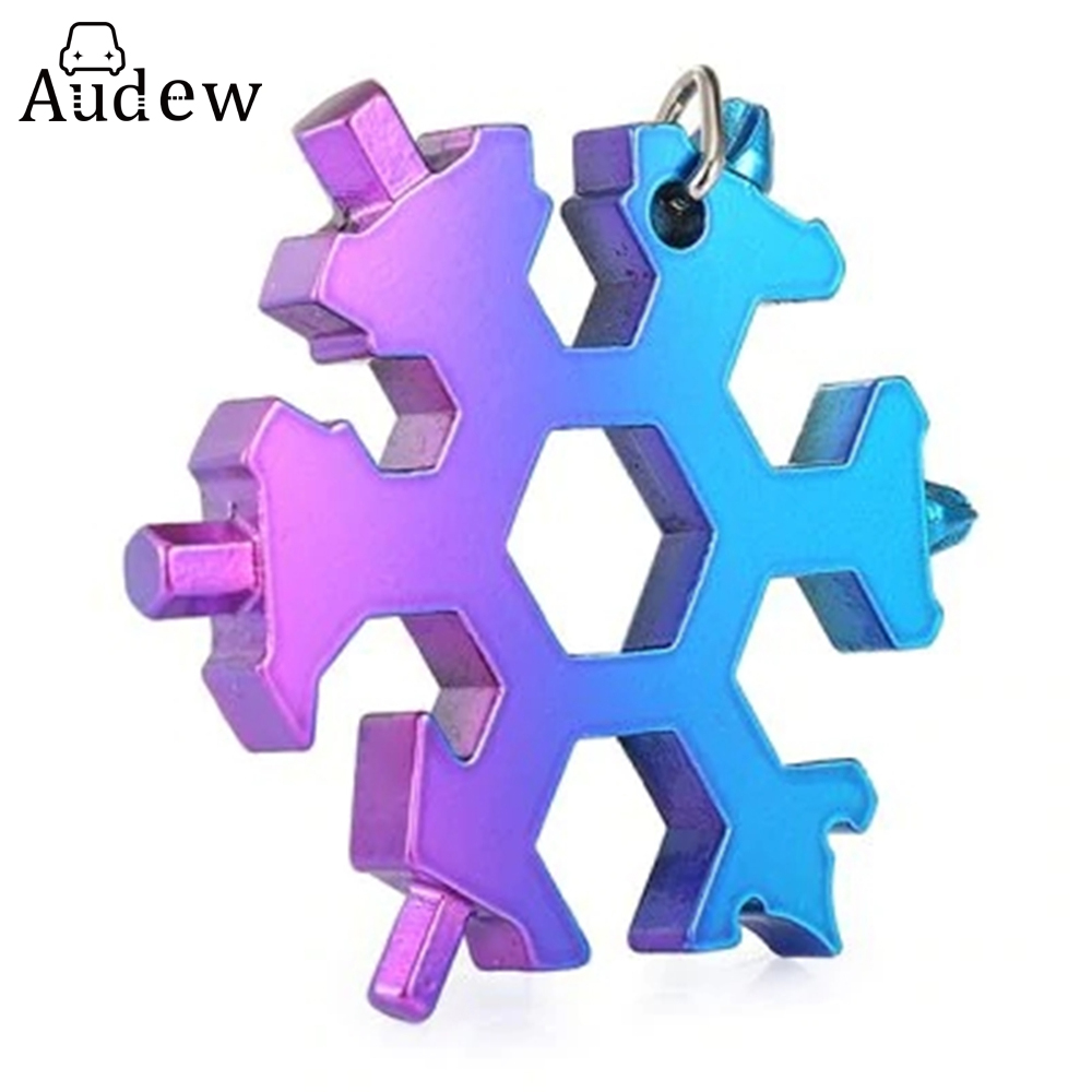 15-in-1 Stainless Multi-function with Snowflake Shape Keychain Screwdrivers Bottle Opener Hex Wrench edc 8 in 1 bottle opener keychain gadget multi function key clip