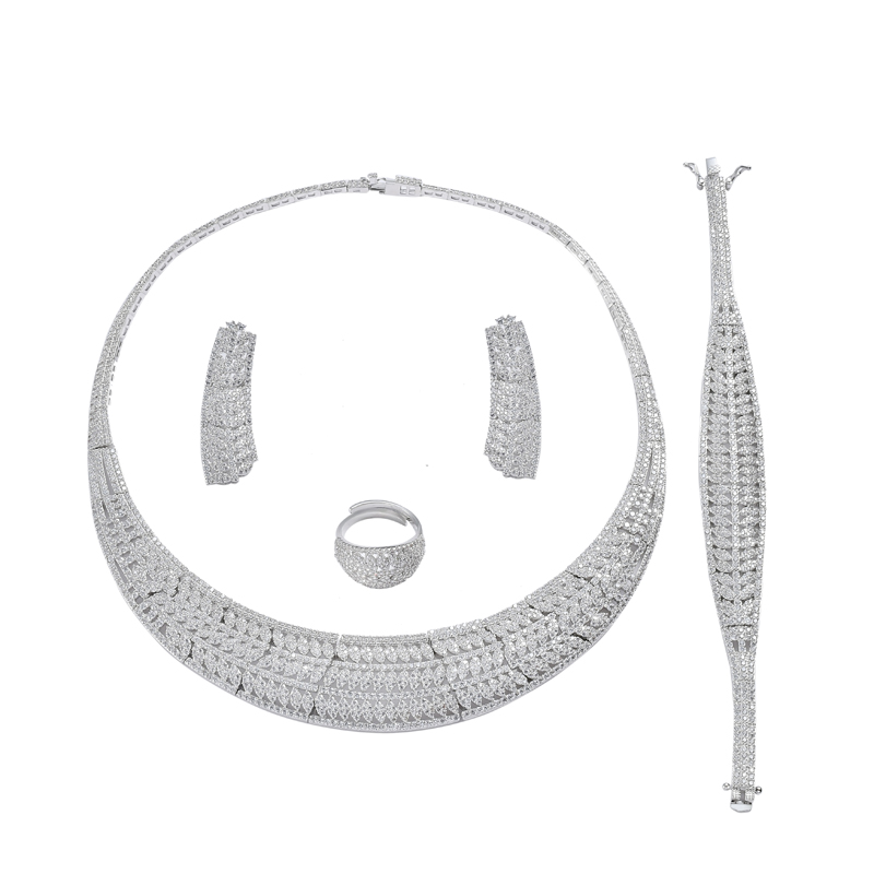 Jewelry Sets HADIYANA New Fahion Elegant Romantic Cubic Zirconia Luxury Simple Atmosphere High Quality TZ8127 Conjunto de joyas