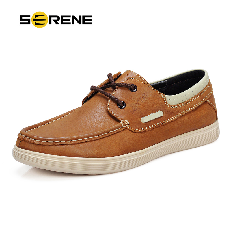 SERENE Brand Cow Leather Boat Shoes Men Casual Lace-up Shoes Lightweight Breathable Loafers Slip-on Shoes Men Dress Shoes 6200 serene brand 2017 men casual loafers retro british shoes carved leather slip on moccasins bullock business casual men shoes 6318