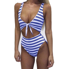 цена на Sexy Front Bow Tie One Piece Striped Swimsuit Padded Waist Band Hollow Bodysuit Swimming Suit Summer Beachwear Maillot De Bain