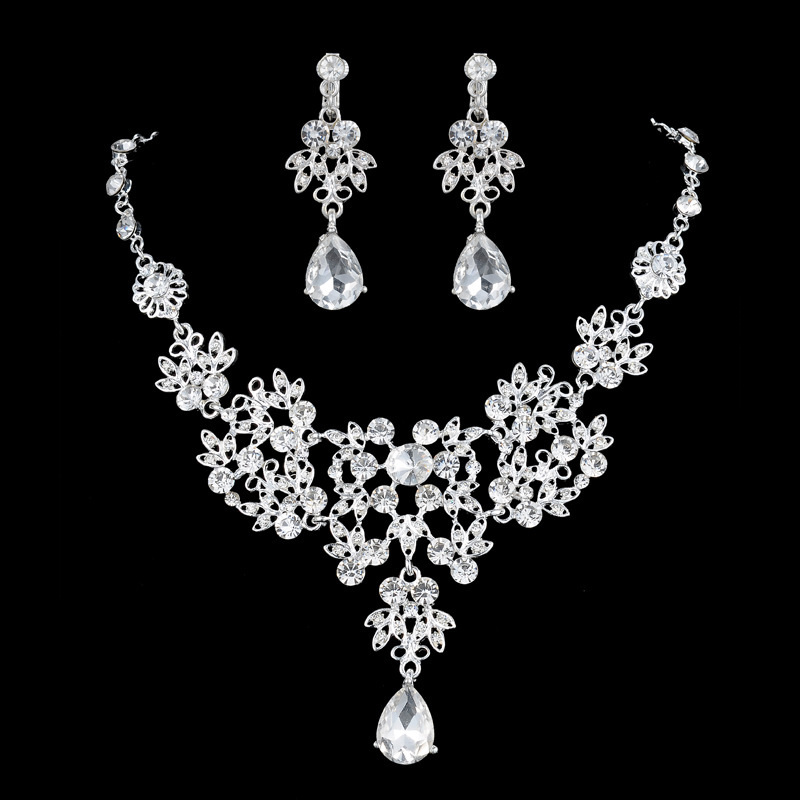 Women Ladies Leaves Rhinestone Earrings Necklace Jewelry Set Wedding Accessories CC0408