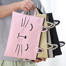 Fabric File Folder Document Bag Cute Cat A4 Canvas Bag Briefcase Paper Stationary Paper Organizer Bag Office And School Supplies