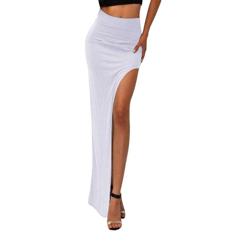 2020 New Fashion Charming Sexy Women Lady Long Skirts Open Side Split Skirt Long High Waist High Slit Maxi Skirt Black