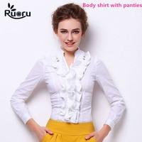 Ruoru Ruffles Blouse Ladies Office Shirts Blouse Elegant Tops Work Wear Slim Fit Women Body Suit Long Sleeve Body Blouse Shirts