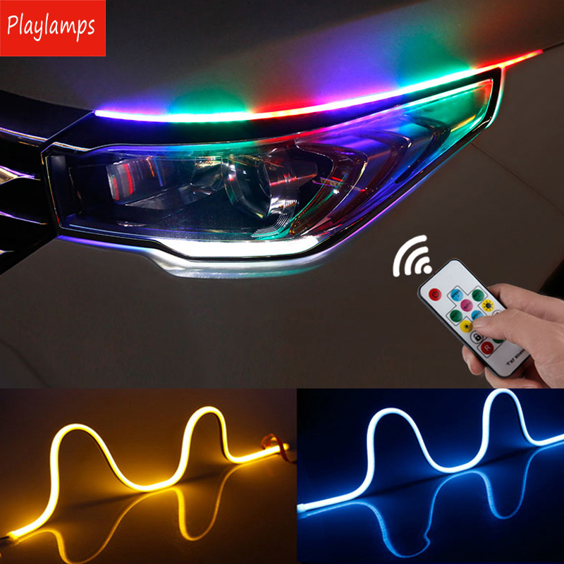 45cm Car DRL Slim Flexible thin LED Strip Headlight day time running light RGB Remote control turn signal Flowing lamp 12V