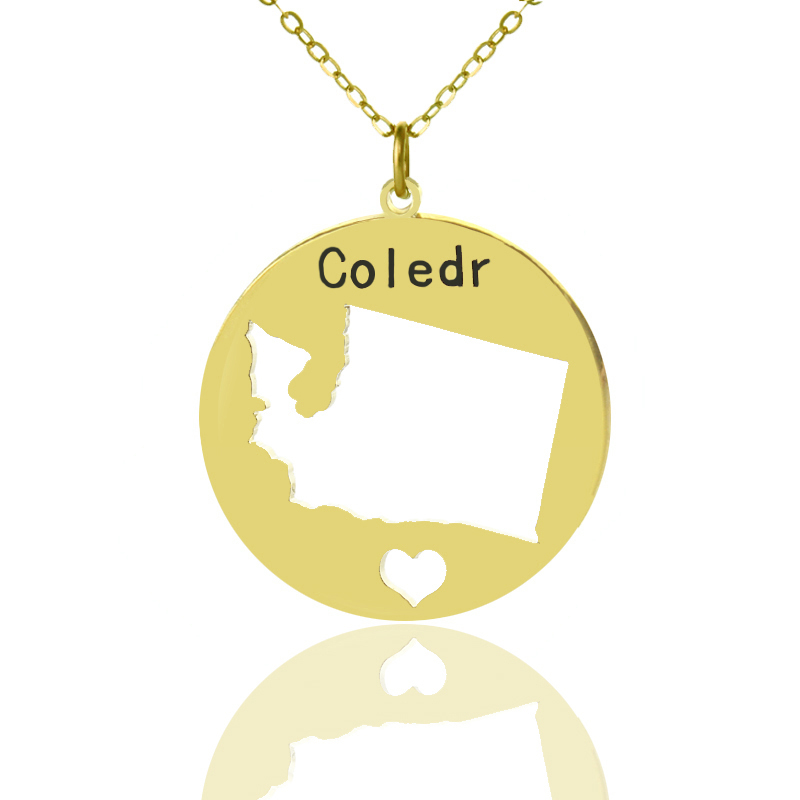 Engraved Name Charms Washington State Necklace Gold Color Personalized Name Plate Necklace I heart Washington Map Jewelry