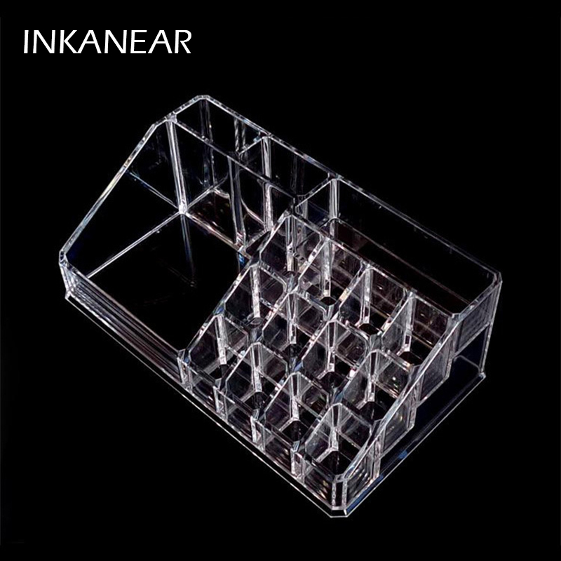 16 Grids 22cm Acrylic Storage Boxes Bins for Make up tool/Lipstick/Cosmetic/eyebrow pencil Desk Organizer Office Holder