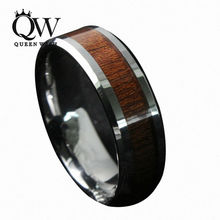 Queenwish hombres 8mm de La Vendimia de Madera de Koa Anillo de Carburo de Tungsteno Joyería Declaración de Eternidad Wedding Band Tamaño 6-13