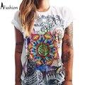 S-XXL de moda de verano 2016 t shirt mujer maravilla impresión punk rock camiseta de las muchachas tops pareja ropa más tamaño camisetas mujer