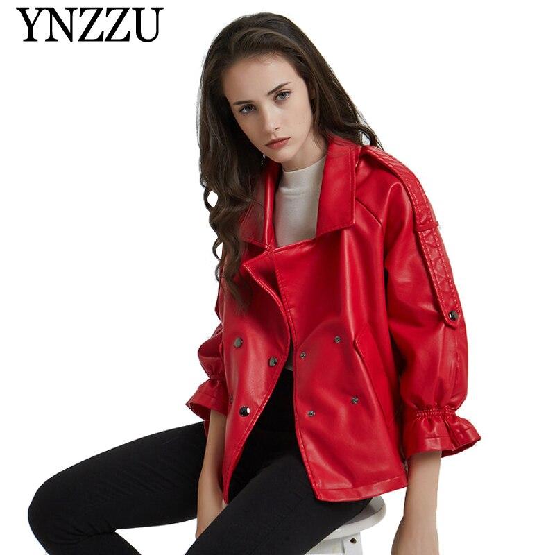 YNZZU 2019 automne hiver volants manches femmes veste en cuir rouge double boutonnage trois quarts PU Outwear casual lâche manteau O828