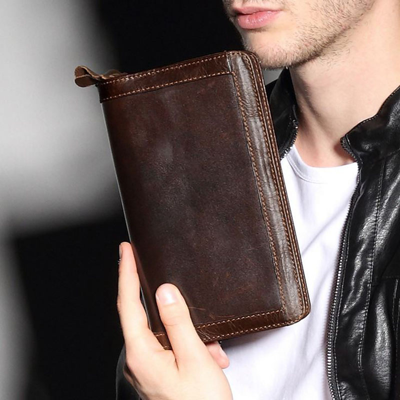 Genuine Leather Men Wallets Long Design Large Capacity Business Men's Clutch bag Card Holder Coin Purse Double Zipper Wallet  wallets men brand baellerry large capacity 16 card position credit card holder long zipper coin purse money bag purse cartera