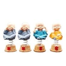 4 pc/set Bobbleheads Resina Boneca Figura Monges Encantos Pingente de Buda Maitreya Figura Presente Enfeites de Mesa Carro Auto Car Styling