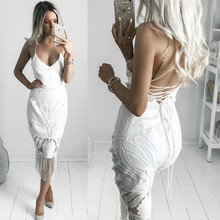 MUXU white lace dress backless sexy kleider fashion vestidos jurken clothes vetements kleid suspender bodycon fringe